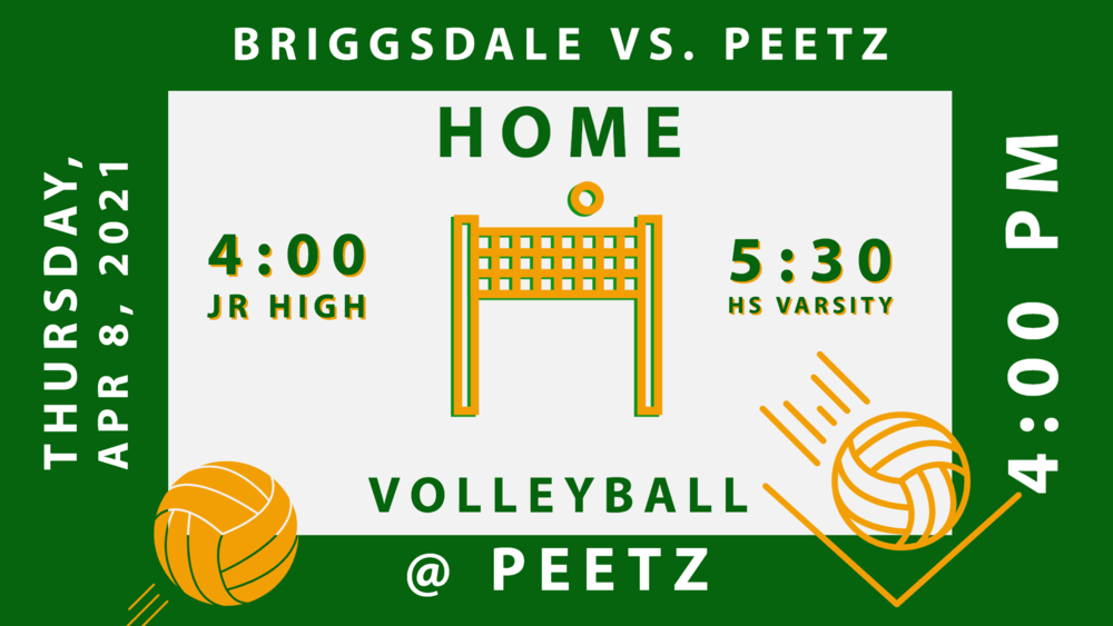 VB Briggsdale vs Peetz - 4/8 @4:00 Home