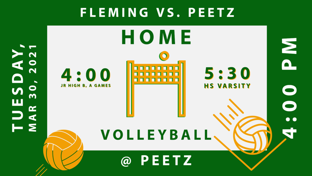 VB Fleming vs Peetz - 3/30 @4:00 Home