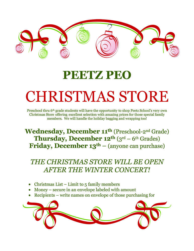 PEO Christmas Store will be open