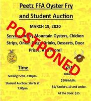 POSTPONED: Peetz FFA Oyster Fry and Student Auction