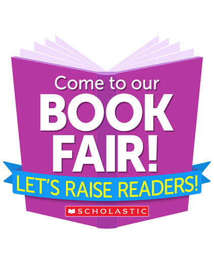 """Come to our Book Fair!"" on purple book, ""Let's Raise Readers!"" on blue banner."