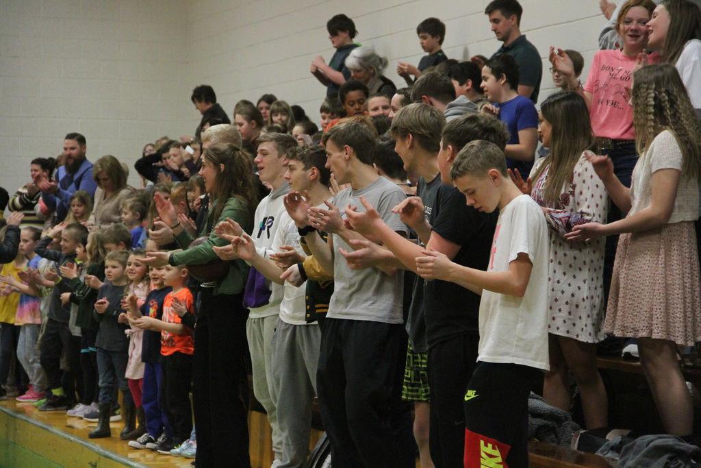 Cheering on with the Bulldog Song