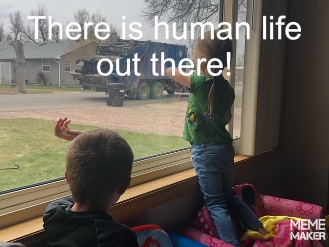 Kids looking out window