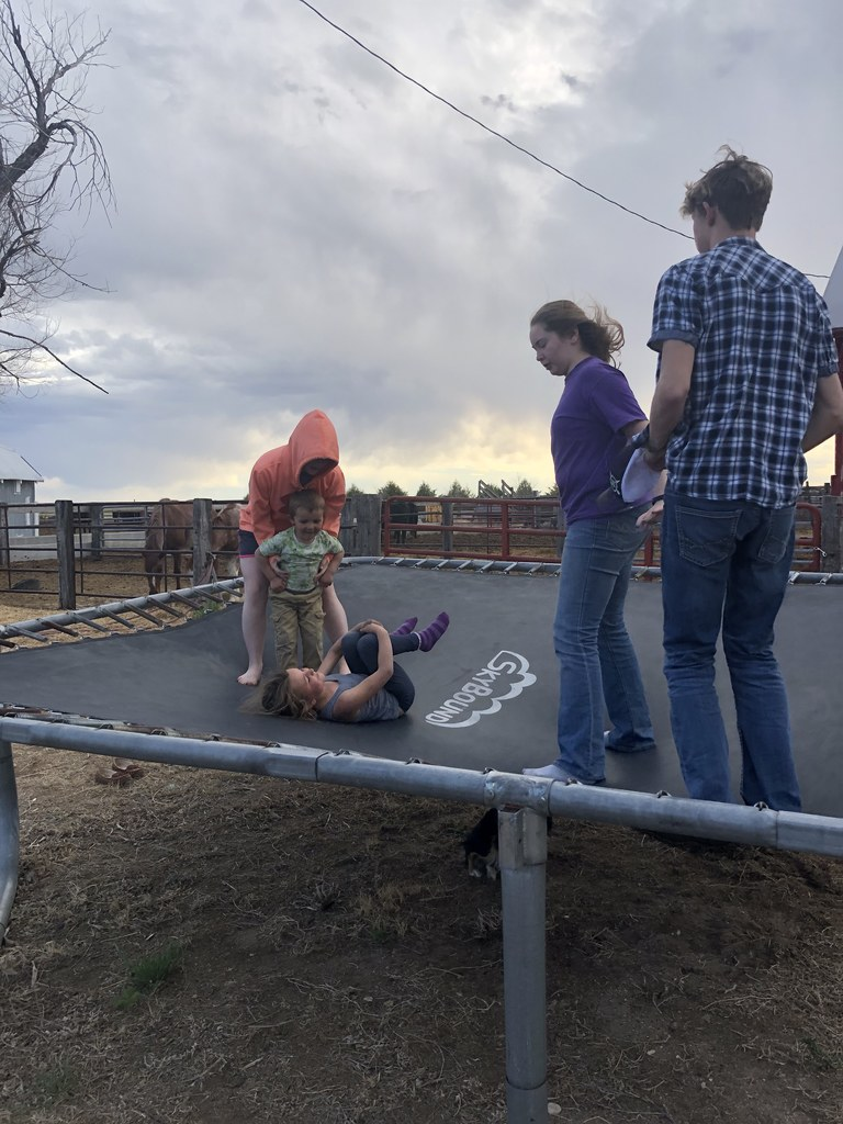 Kids jumping on trampoline
