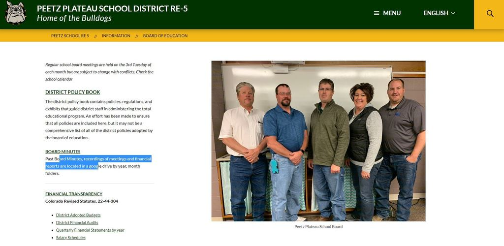 Board of education webpage picture
